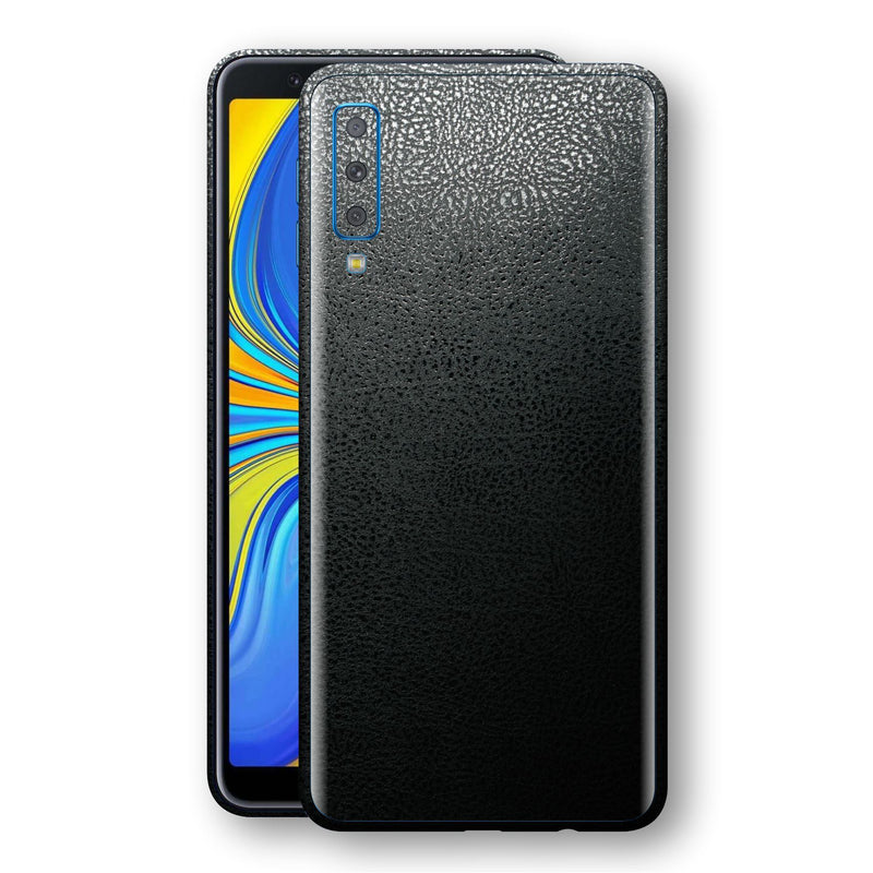 Samsung Galaxy A7 (2018) Luxuria BLACK Leather Skin Wrap Decal Protector | EasySkinz