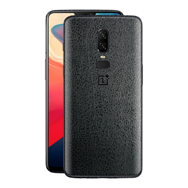 OnePlus 6 Luxuria Black Leather Skin Wrap Decal Cover by EasySkinz