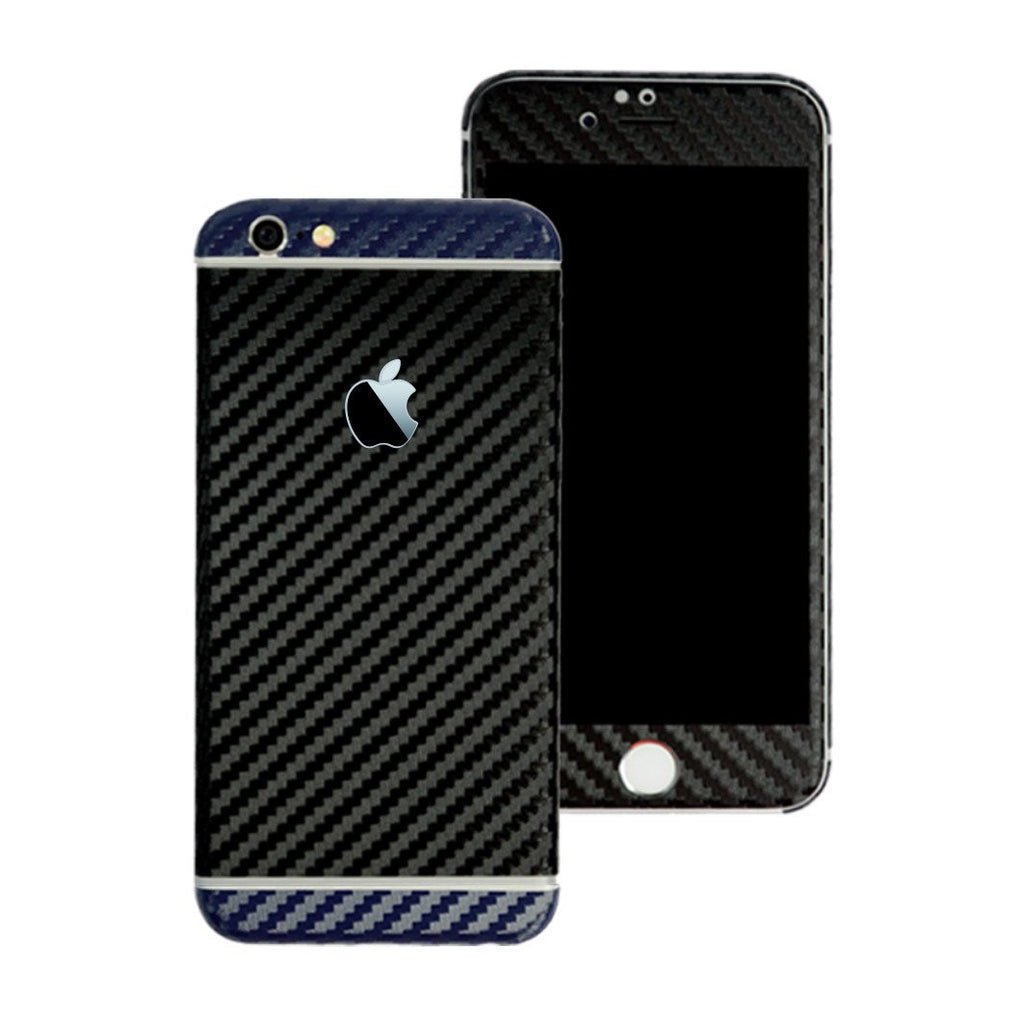 iPhone 6 Plus Two Tone Black and Navy Blue CARBON Fibre Skin Wrap Sticker Decal Cover Protector by EasySkinz
