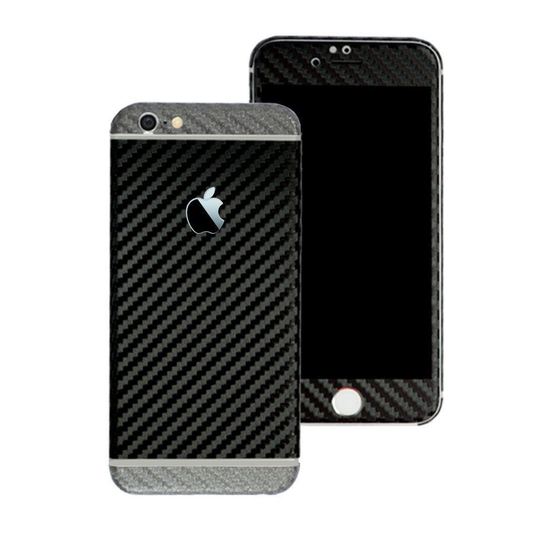 iPhone 6 Two Tone Black and Metallic Grey CARBON Fibre Skin Wrap Sticker Decal Cover Protector by EasySkinz
