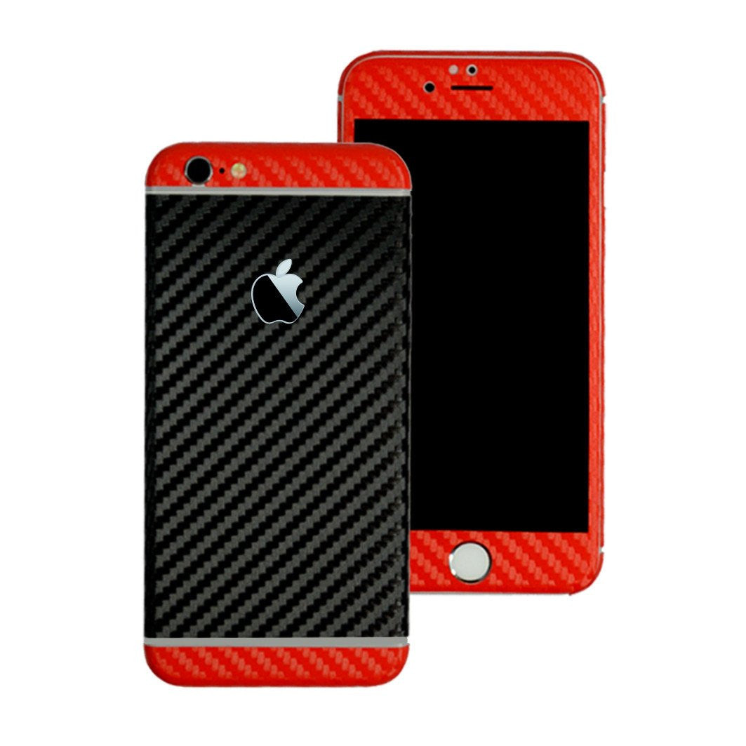 iPhone 6S Two Tone Black and Double Red CARBON Fibre Skin Wrap Sticker Decal Cover Protector by EasySkinz