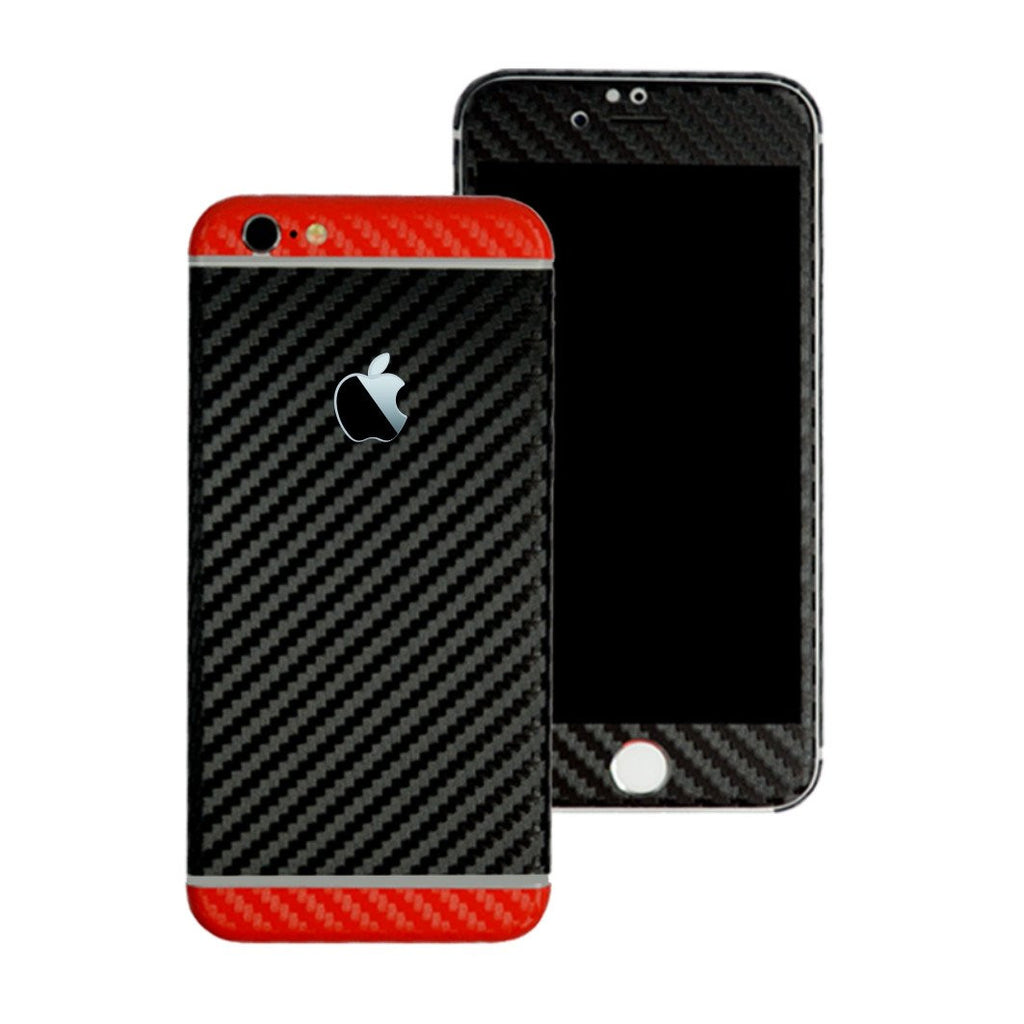 iPhone 6S PLUS Two Tone Black and Red CARBON Fibre Skin Wrap Sticker Decal Cover Protector by EasySkinz
