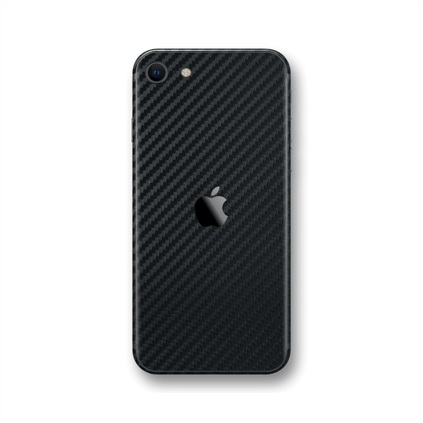 iPhone SE (2020) 3D Textured Black Carbon Fibre Fiber Skin Wrap Sticker Decal Cover Protector by EasySkinz
