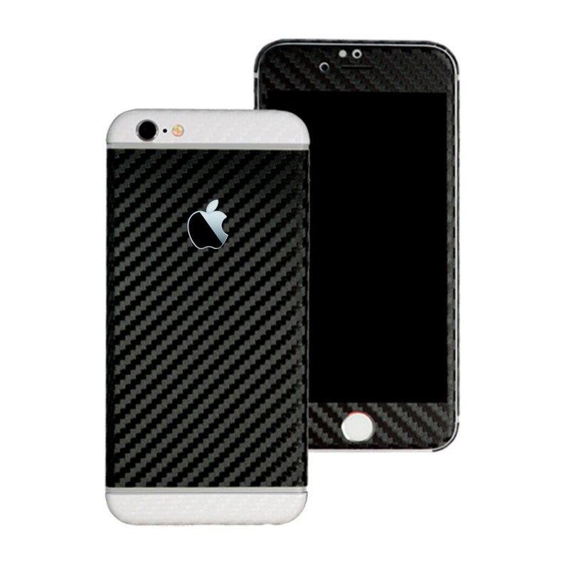 iPhone 6S PLUS Two Tone Black and White CARBON Fibre Skin Wrap Sticker Decal Cover Protector by EasySkinz