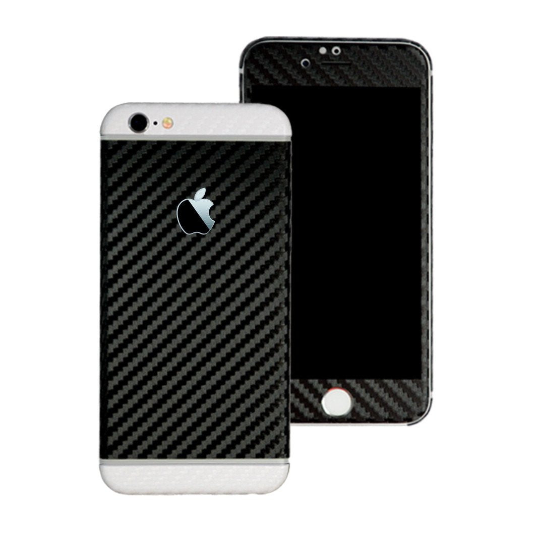 iPhone 6 Plus Two Tone Black and White CARBON Fibre Skin Wrap Sticker Decal Cover Protector by EasySkinz