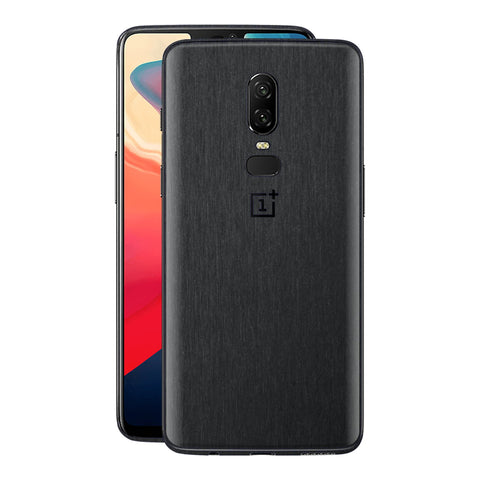 OnePlus 6 Brushed Black Metallic Metal Skin, Decal, Wrap, Protector, Cover by EasySkinz | EasySkinz.com