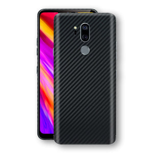 LG G7 ThinQ 3D Textured Black Carbon Fibre Fiber Skin, Decal, Wrap, Protector, Cover by EasySkinz | EasySkinz.com