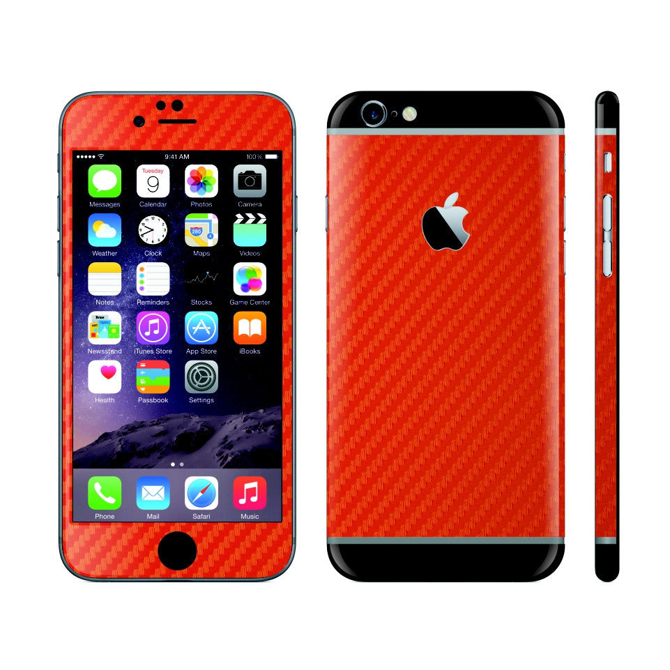 iPhone 6S RED Carbon Fibre Fiber Skin with Black Matt Highlights Cover Decal Wrap Protector Sticker by EasySkinz
