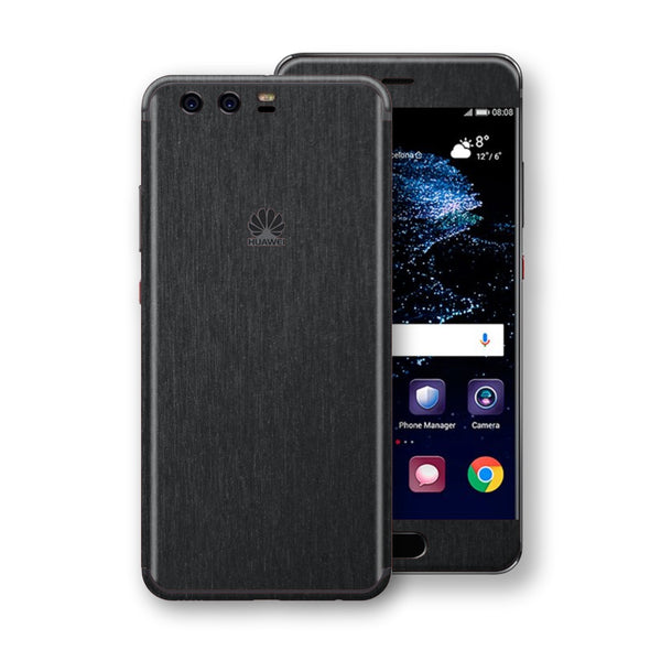 Huawei P10+ PLUS Brushed Black Metallic Metal Skin, Decal, Wrap, Protector, Cover by EasySkinz | EasySkinz.com