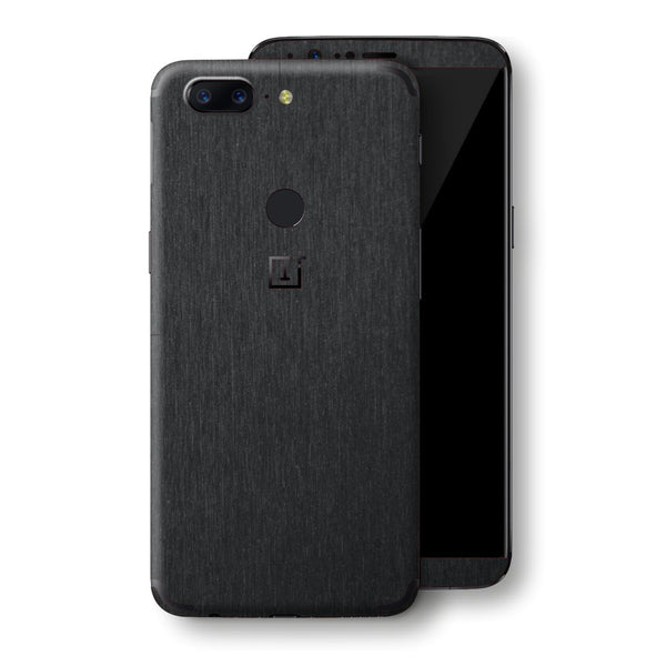 OnePlus 5T Brushed Black Metallic Metal Skin, Decal, Wrap, Protector, Cover by EasySkinz | EasySkinz.com