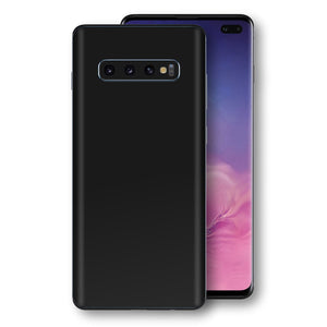 Samsung Galaxy S10+ PLUS Black Glossy Gloss Finish Skin, Decal, Wrap, Protector, Cover by EasySkinz | EasySkinz.com