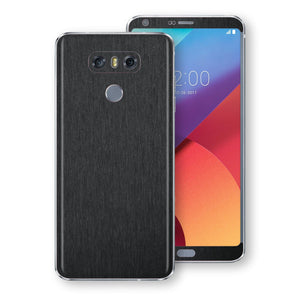 LG G6 Brushed Black Metallic Metal Skin, Decal, Wrap, Protector, Cover by EasySkinz | EasySkinz.com