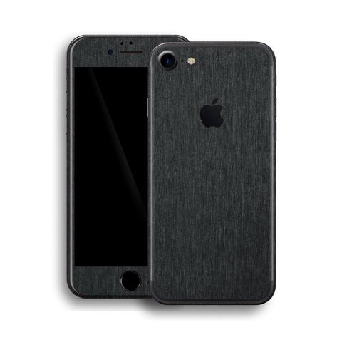 iPhone 7 Brushed Metal BLACK Metallic Skin, Wrap, Decal, Protector, Cover by EasySkinz | EasySkinz.com