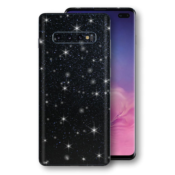 Samsung Galaxy S10+ PLUS Diamond Black Shimmering, Sparkling, Glitter Skin, Decal, Wrap, Protector, Cover by EasySkinz | EasySkinz.com