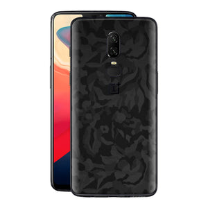 OnePlus 6 Black 3D Camo Camouflage Textured Skin Wrap Decal 3M by EasySkinz