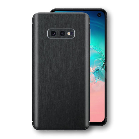 Samsung Galaxy S10e Brushed Black Metallic Metal Skin, Decal, Wrap, Protector, Cover by EasySkinz | EasySkinz.com