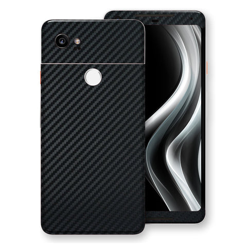 Google Pixel 2 XL 3D Textured Black Carbon Fibre Fiber Skin, Decal, Wrap, Protector, Cover by EasySkinz | EasySkinz.com