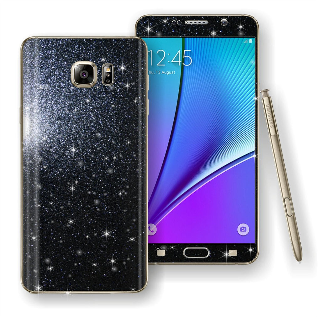 Samsung Galaxy Note 5 Diamond Glitter Shimmering BLACK Skin Wrap Decal Sticker Protector Cover by EasySkinz