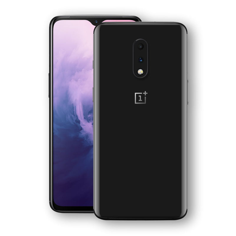 OnePlus 7 Black Glossy Gloss Finish Skin, Decal, Wrap, Protector, Cover by EasySkinz | EasySkinz.com