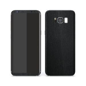 Samsung Galaxy S8 Brushed BLACK Metallic Metal Skin, Decal, Wrap, Protector, Cover by EasySkinz | EasySkinz.com