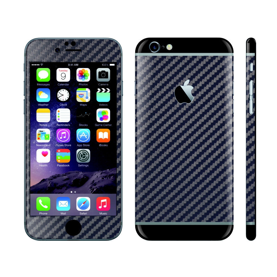 iPhone 6 NAVY BLUE Carbon Fibre Fiber Skin with Black Matt Highlights Cover Decal Wrap Protector Sticker by EasySkinz