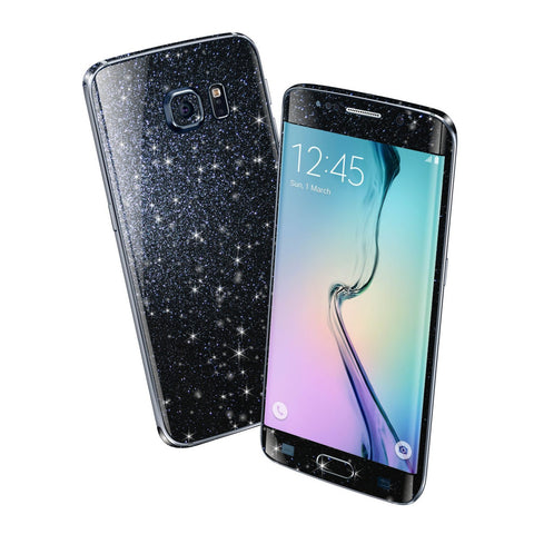 Samsung Galaxy S6 EDGE DIAMOND BLACK Shimmering Sparkling Glitter Skin Wrap Sticker Cover Decal Protector by EasySkinz