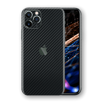 iPhone 11 PRO Black 3D Textured CARBON Fibre Fiber Skin, Wrap, Decal, Protector, Cover by EasySkinz | EasySkinz.com  Edit alt text