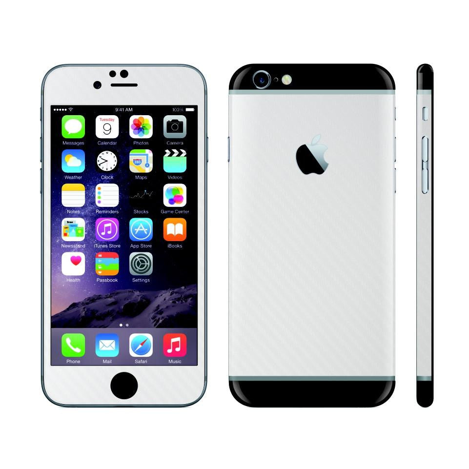 iPhone 6 Plus White Carbon Fibre Skin with Black Matt Highlights Cover Decal Wrap Protector Sticker by EasySkinz
