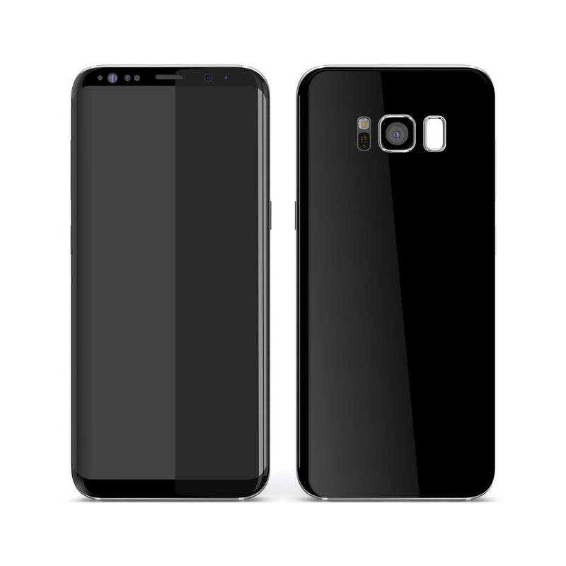 Samsung Galaxy S8+ Black Glossy Gloss Finish Skin, Decal, Wrap, Protector, Cover by EasySkinz | EasySkinz.com