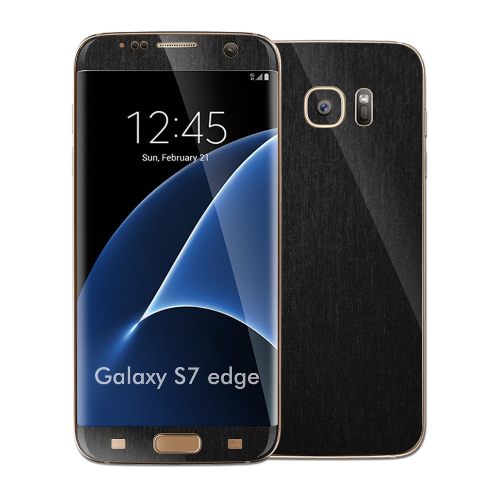 Samsung Galaxy S7 EDGE 3M Brushed Black Metallic Skin Wrap Decal Protector Cover Sticker by EasySkinz
