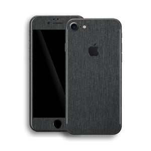 iPhone 8 Brushed Metal BLACK Metallic Skin, Wrap, Decal, Protector, Cover by EasySkinz | EasySkinz.com