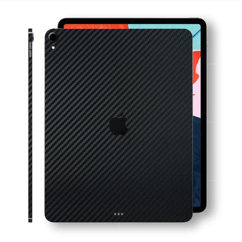 "iPad PRO 11"" 2018 Black 3D Textured CARBON Fibre Fiber Skin Wrap Sticker Decal Cover Protector by EasySkinz"