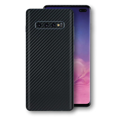 Samsung Galaxy S10+ PLUS 3D Textured Black Carbon Fibre Fiber Skin, Decal, Wrap, Protector, Cover by EasySkinz | EasySkinz.com