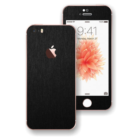 iPhone SE 3M Brushed BLACK Metallic Skin Wrap Decal Sticker Cover Protector by EasySkinz