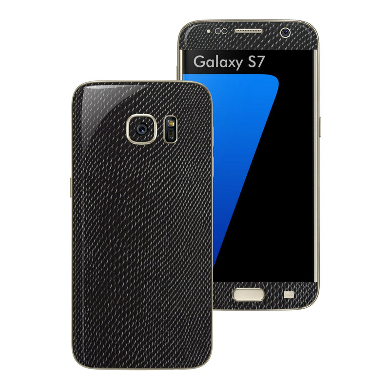 Samsung Galaxy S7 Black Mamba Snake Leather Skin Wrap Decal Cover Protector Sticker by EasySkinz