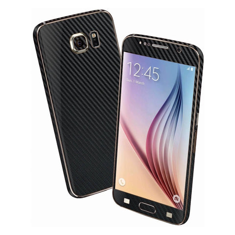 Samsung Galaxy S6 Black 3D CARBON Fibre Fiber Skin Wrap Sticker Cover Decal Protector by EasySkinz