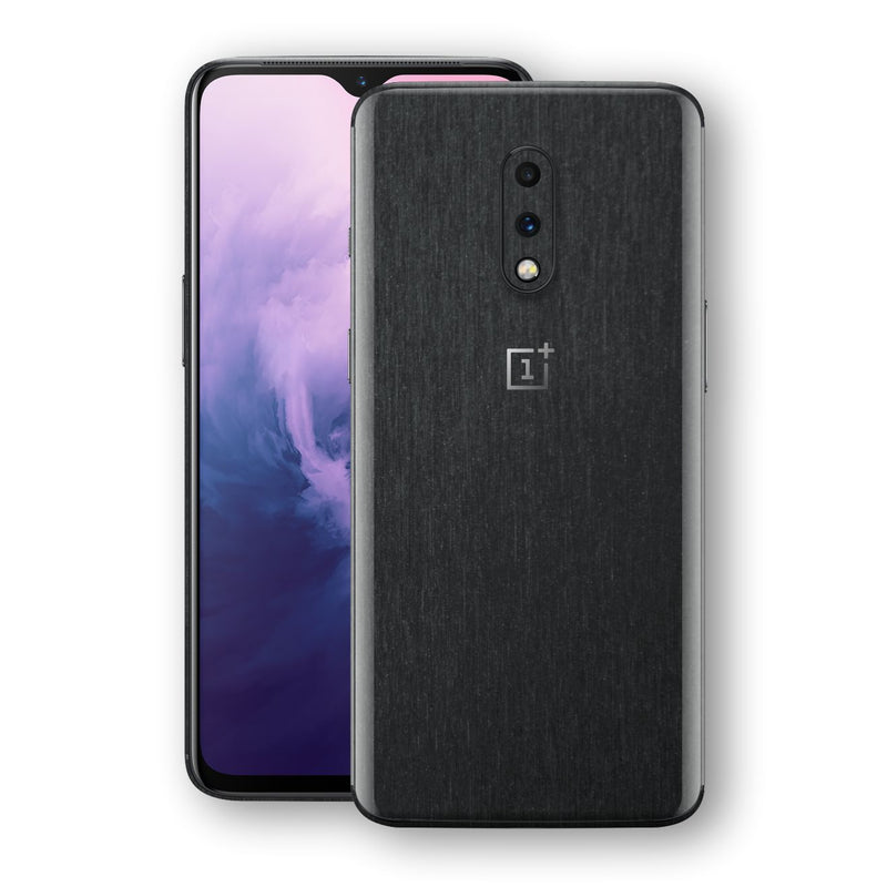OnePlus 7 Brushed Black Metallic Metal Skin, Decal, Wrap, Protector, Cover by EasySkinz | EasySkinz.com