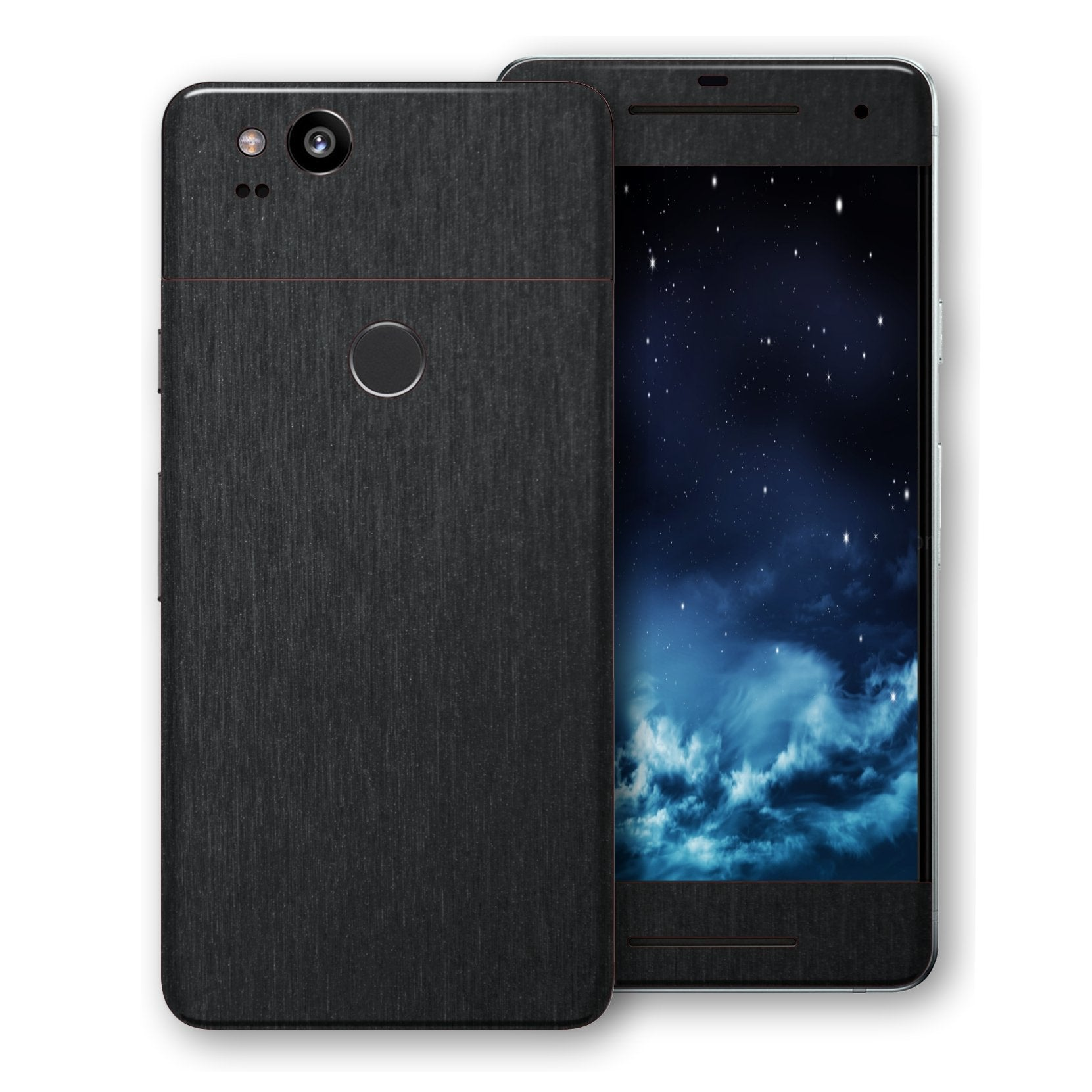 Google Pixel 2 Brushed Black Metallic Metal Skin, Decal, Wrap, Protector, Cover by EasySkinz | EasySkinz.com
