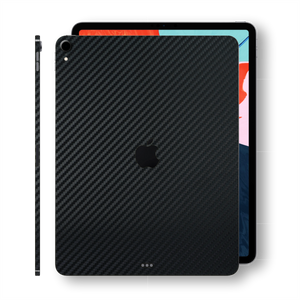 "iPad PRO 12.9"" 3rd Generation 2018 3D Textured Black CARBON Fibre Fiber Skin Wrap Sticker Decal Cover Protector by EasySkinz"
