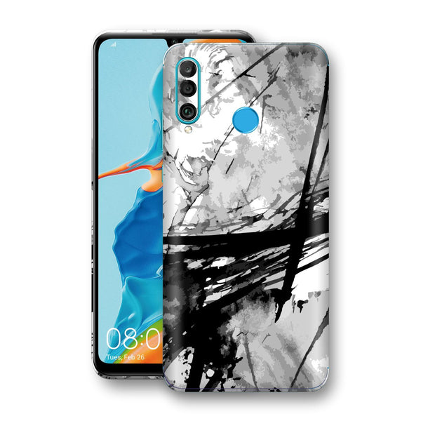 Huawei P30 LITE Print Custom Signature Abstract Black & White 2 Skin Wrap Decal by EasySkinz - Design 2