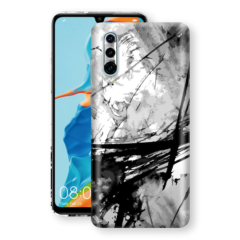 Huawei P30 Print Custom Signature Abstract Black & White 2 Skin Wrap Decal by EasySkinz - Design 2