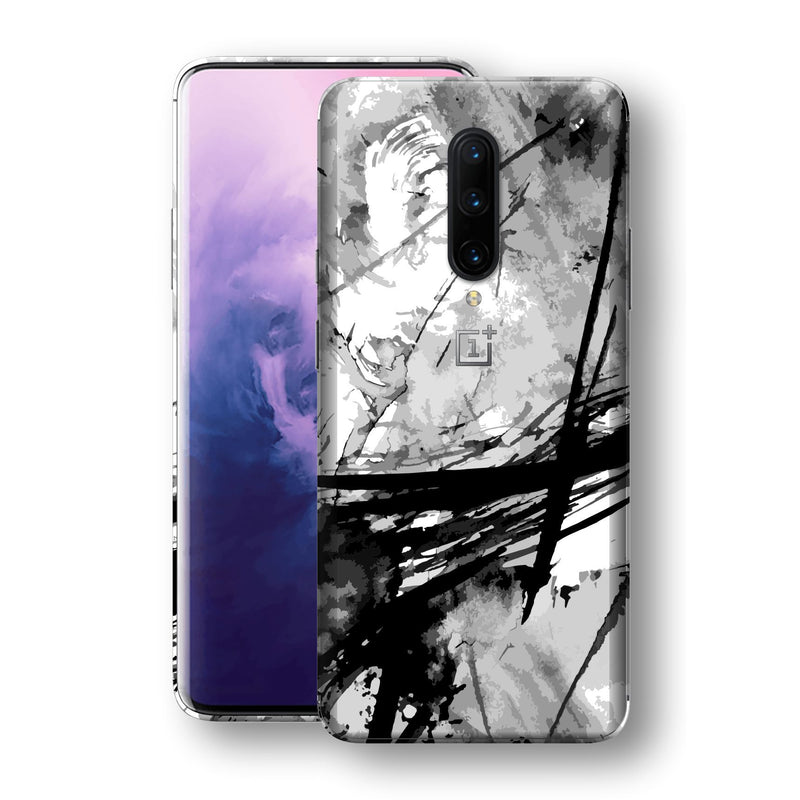 OnePlus 7 PRO Print Custom Signature Abstract Black & White 2 Skin Wrap Decal by EasySkinz - Design 2