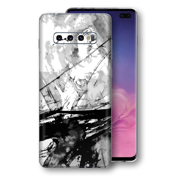 Samsung Galaxy S10+ PLUS Print Custom Signature Abstract Black & White 2 Skin Wrap Decal by EasySkinz - Design 2