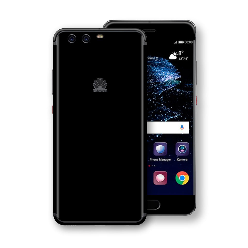 Huawei P10  Black Glossy Gloss Finish Skin, Decal, Wrap, Protector, Cover by EasySkinz | EasySkinz.com