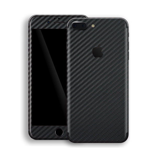 iPhone 8 Plus 3D Textured Black Carbon Fibre Fiber Skin, Decal, Wrap, Protector, Cover by EasySkinz | EasySkinz.com