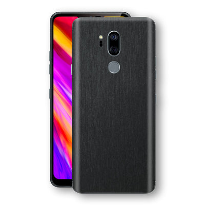 LG G7 ThinQ Brushed Black Metallic Metal Skin, Decal, Wrap, Protector, Cover by EasySkinz | EasySkinz.com