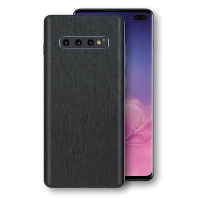 Samsung Galaxy S10+ PLUS Brushed Black Metallic Metal Skin, Decal, Wrap, Protector, Cover by EasySkinz | EasySkinz.com
