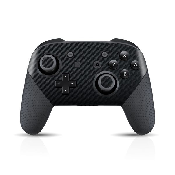 Nintendo Switch Pro CONTROLLER Black 3D Textured CARBON Fibre Fiber Skin Wrap Sticker Decal Cover Protector by EasySkinz