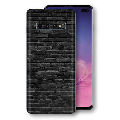 Samsung Galaxy S10+ PLUS Print Custom Signature Black Bricks Skin Wrap Decal by EasySkinz