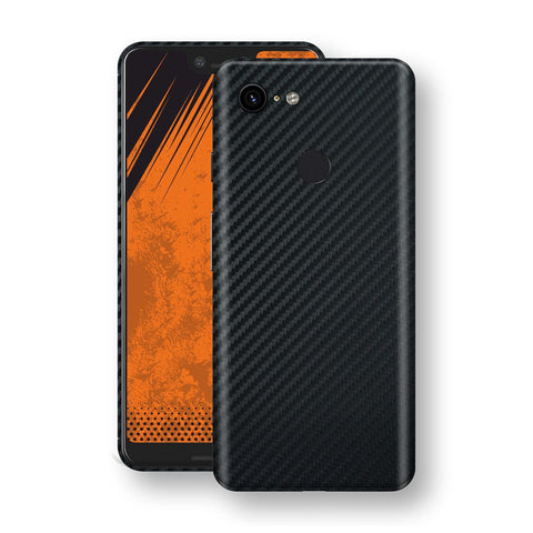 Google Pixel 3 XL 3D Textured Black Carbon Fibre Fiber Skin, Decal, Wrap, Protector, Cover by EasySkinz | EasySkinz.com